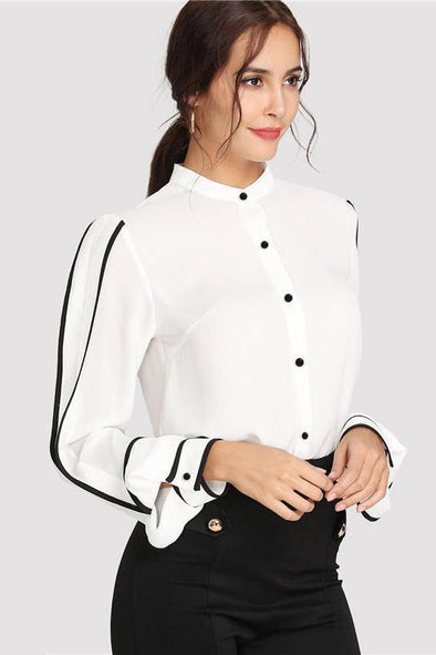 Elegant Stand Collar Long Sleeve Button Blouse | TeresaClare
