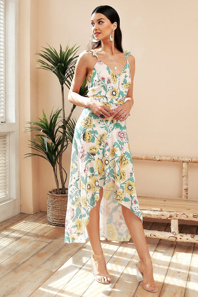 Elegant V Neck Bohemian Print Asymmetrical Wrap Dress | TeresaClare
