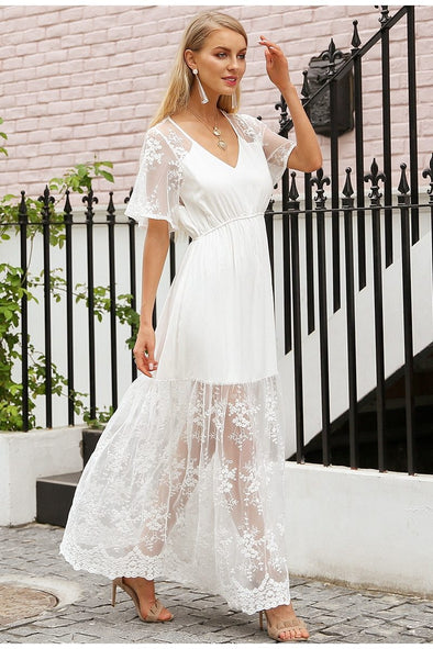 Elegant V Neck Transparent Embroidery Lace Dress | TeresaClare