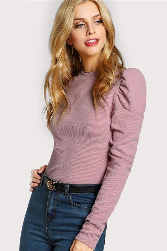 Elegant Women Clothes Women Pink Long Sleeve O Neck T-Shirt | TeresaClare