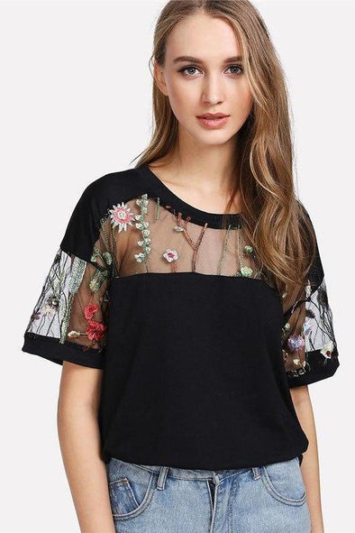 Embroidered Mesh Yoke Top Black Short Sleeve Round Neck T-Shirt | TeresaClare
