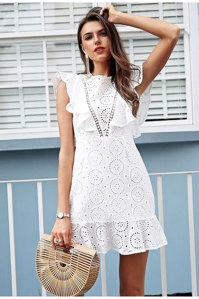 Embroidery Cotton White Ruffle Sleeve Dress | TeresaClare