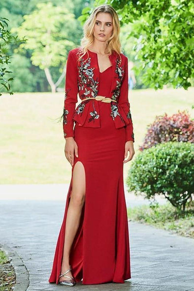 Embroidery Long Red Full Sleeves Sheath Floor Length Evening Dress | TeresaClare