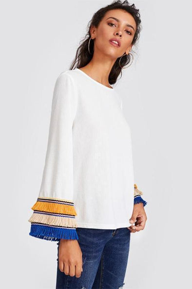 Embroidery Tape and Fringe Bell Sleeve Textured Blouse | TeresaClare