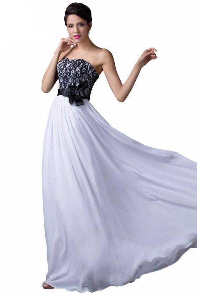 Empire Chiffon Black White Prom Dress With Lace – TeresaClare