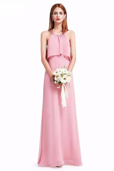 Empire Floor-Length Halter Neck Prom Dress With Ruffles | TeresaClare