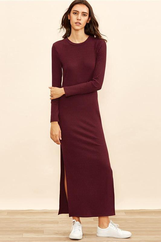 European Style Knitted Long Sleeve High Slit Fashion Dress | TeresaClare