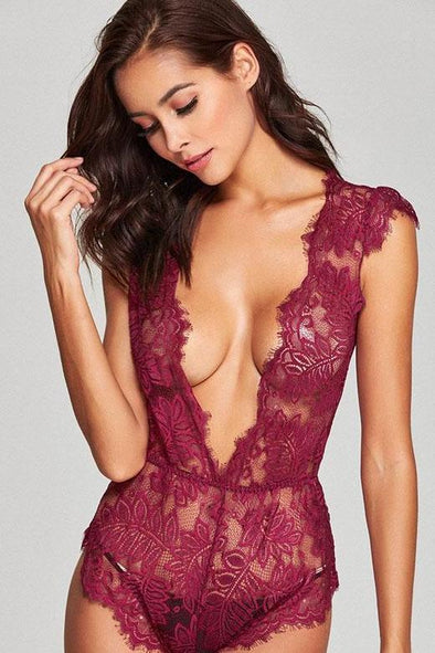 Eyelash Lace Transparent Women's Bodysuit With V Neck | TeresaClare