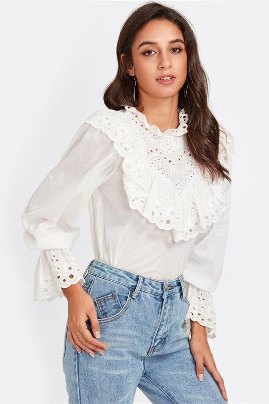 Eyelet Embroidered Ruffle and Bell Cuff Blouse | TeresaClare