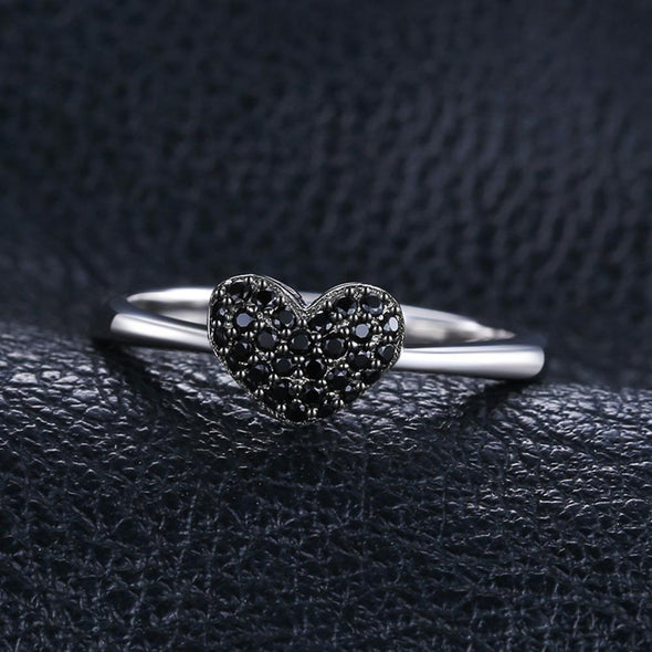 Fashion 0.14ct Black Spinel Love Heart Ring | TeresaClare