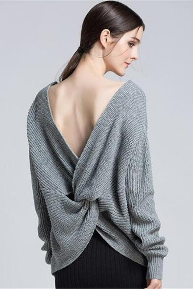 Fashion Backless Knitted Pullovers Female Sweater | TeresaClare