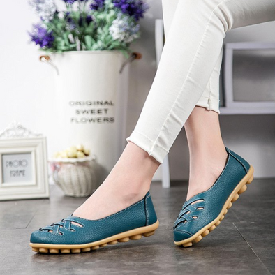 Fashion Leather Women's Flats Comfortable Cut-outs Flats | TeresaClare