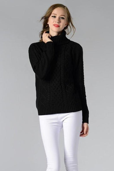 Fashion Solid Knitted Turtleneck Pullovers Slim Sweater | TeresaClare