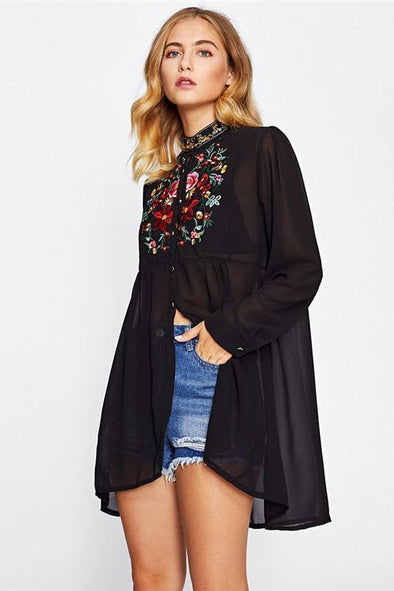 Fashion Stand Collar Long Sleeve Floral Embroidered Blouse | TeresaClare