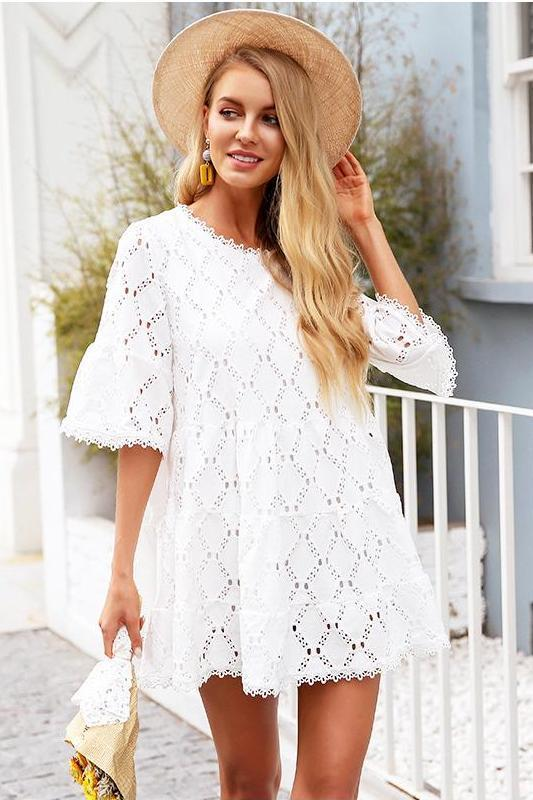 Flare Sleeve Cotton White Lace Loose Casual Dress | TeresaClare