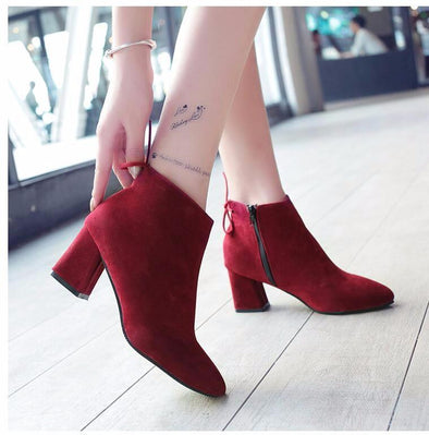 Flock High-Heeled Platform Lace Up Ankle Boots | TeresaClare