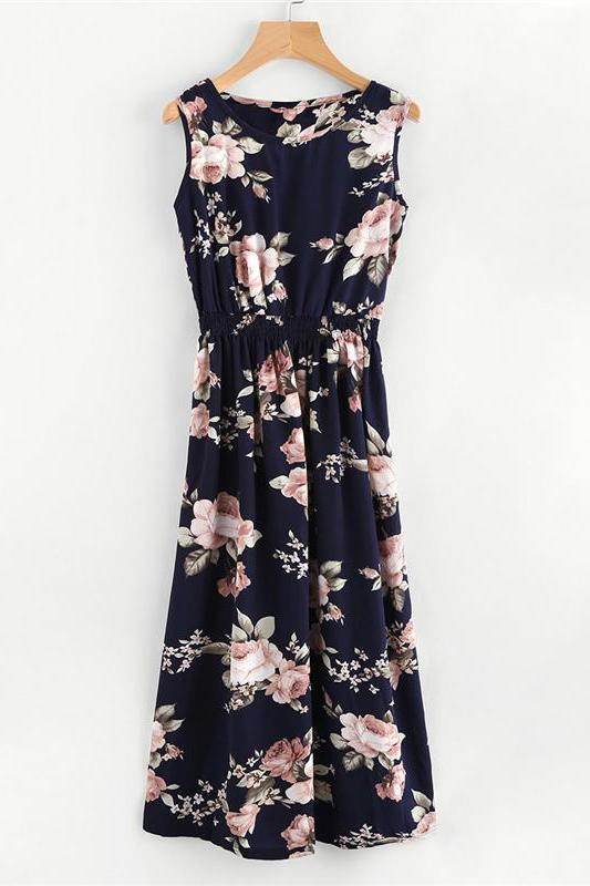 Floral Elastic Waist Beach Sleeveless Fitted Fashion Dress | TeresaClare