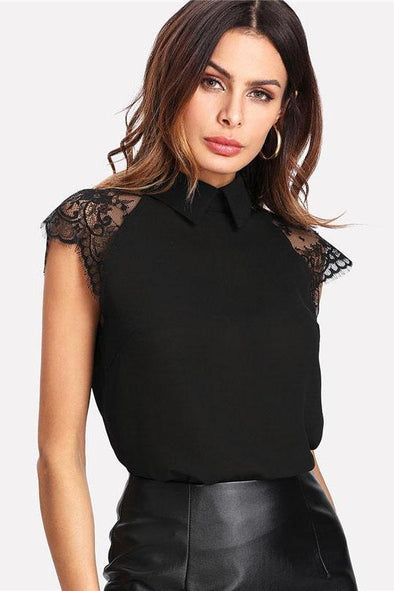 Floral Lace Cap Sleeve Button Blouse | TeresaClare