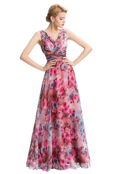 Floral Print Long Holiday Dress With Double V-Neck | TeresaClare
