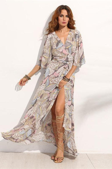 Floral Print Maxi Chiffon V Neck Half Sleeve Fashion Dress | TeresaClare