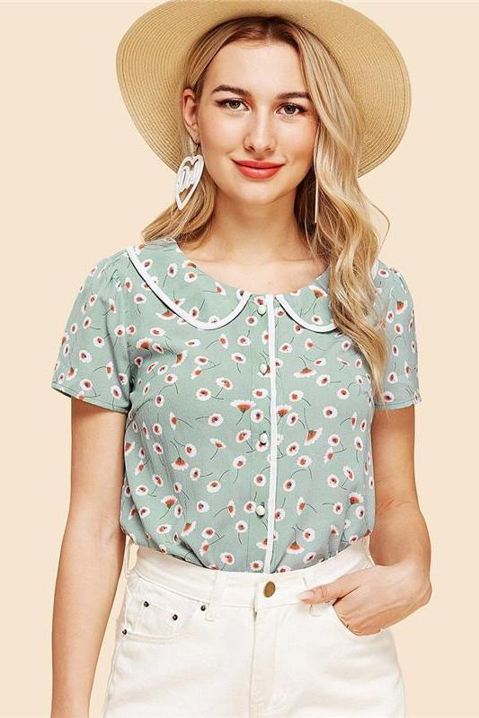 Floral Print Short Sleeve Vintage Top And Blouse | TeresaClare