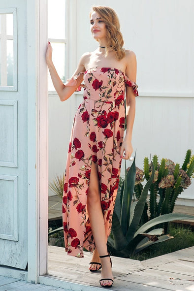 Floral Print Split Long Sexy Off Shoulder Ruffle Fashion Dress | TeresaClare