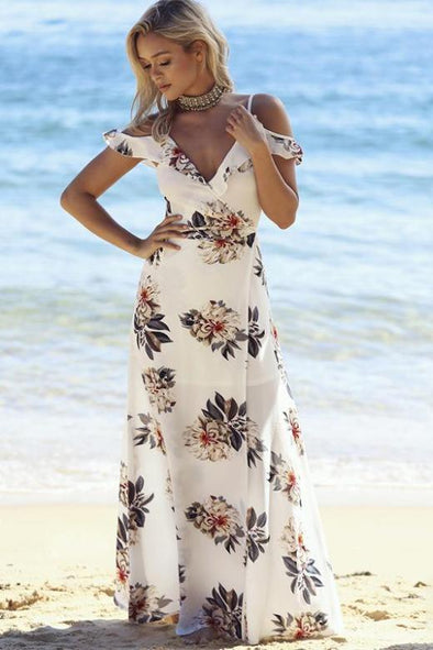 Floral Print V-Neck Front Split Beach Summer Fashion Dress With Ruffles | TeresaClare