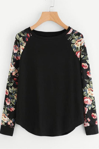 Floral Raglan Sleeve Curved Hem Black Long Sleeve T-Shirt | TeresaClare