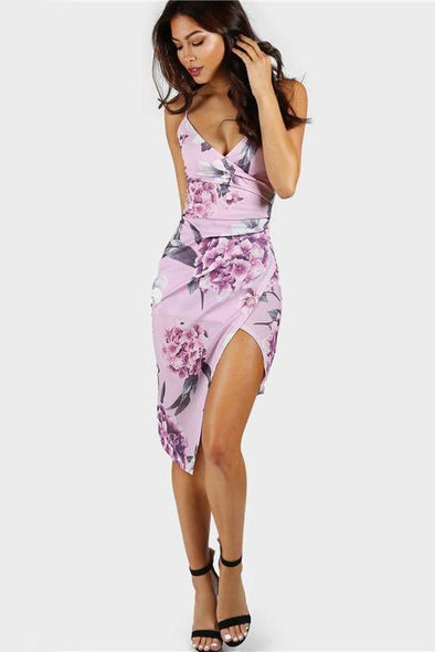 Floral Slip Club Dress Ruched Bodycon Fashion Dress | TeresaClare