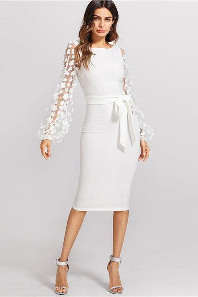 Flower Applique Mesh Sleeve White Boat Neck Fashion Dress | TeresaClare