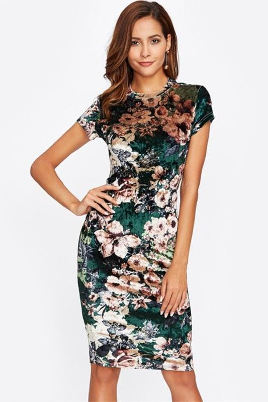 Form Fitting Floral Velvet Green Sexy Fashion Dress | TeresaClare