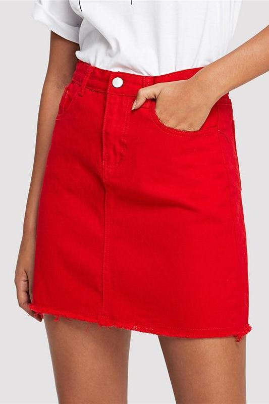 Frayed Hem Pockets Denim Ripped Mid Waist Mini Skirt | TeresaClare