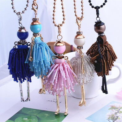 French Girl Dolls Necklace Dress Pendant Crystal | TeresaClare