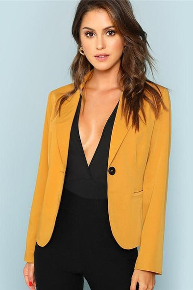 Front Single Button Solid Workwear Blazer With Pockets | TeresaClare