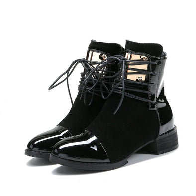 Genuine Leather Flat Patent Leather Ankle Boots | TeresaClare