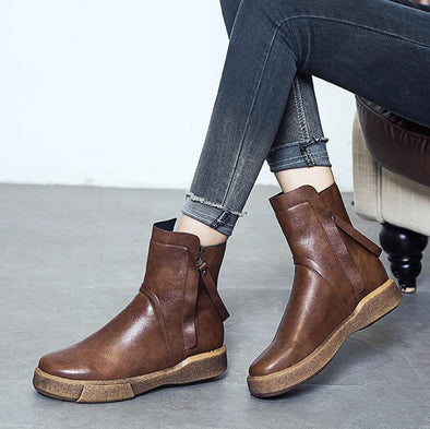 Genuine Leather Flat Soft Double Zipper Ankle Boots | TeresaClare