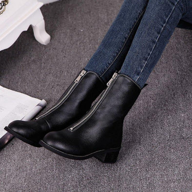Genuine Leather Women's Low Heel Boots Fashion Zipper | TeresaClare