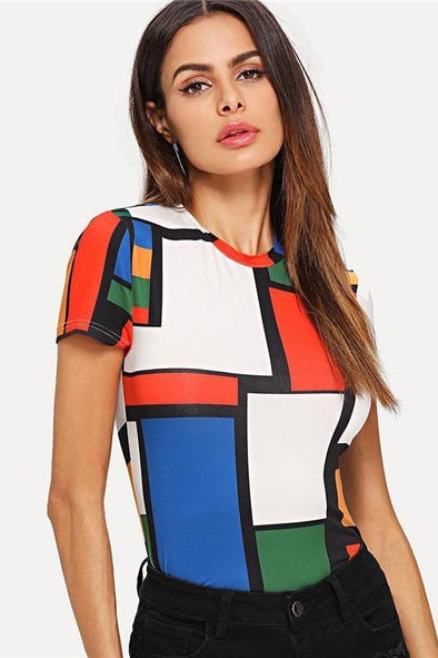 Geometric Print Color Block Top Multicolor Short Sleeve T-Shirt | TeresaClare