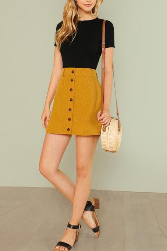 c2880cb33 Shop Ginger A Line Casual Bottom Wide Waistband Button Up Skirt Now ...