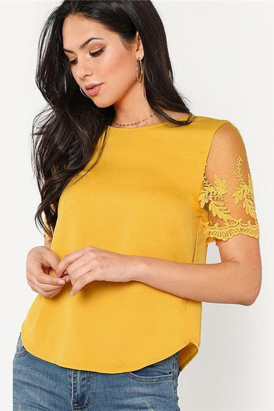 Ginger Flower Mesh Sleeve Round Neck Blouse | TeresaClare