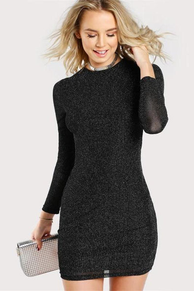 Glitter Form Fitting Tee Black Long Sleeve Fashion Dress | TeresaClare