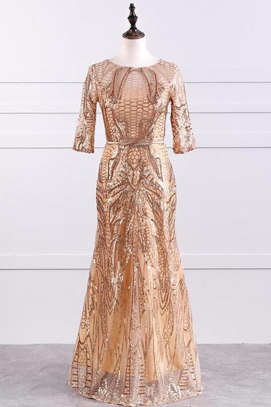 Gold 1/2 Sleeved Evening Dress With Sequins And Bow | TeresaClare