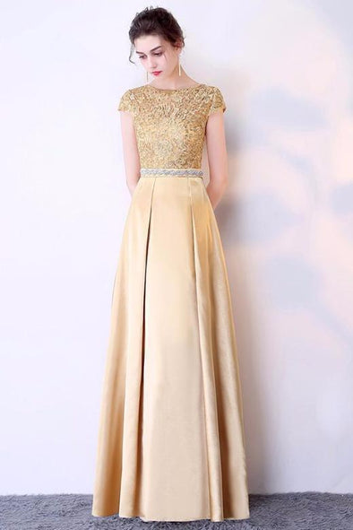 Gold A-Line Satin Scoop Neck Prom Dress With Short Sleeves | TeresaClare