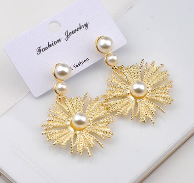 Gold Charm Jewelry Elegant Flower Simulated Pearl Drop Earrings | TeresaClare