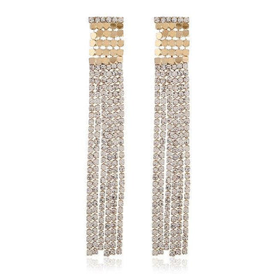 Gold Elegant Rhinestone Tassel Earrings For Women | TeresaClare