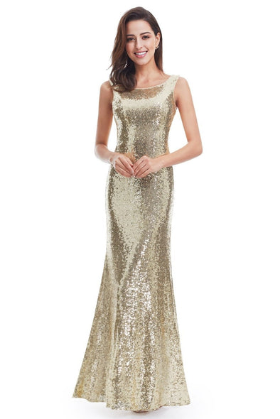 Gold Long Pretty Back Cowl Neck Evening Party Gown | TeresaClare