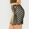 Gold Sequin Textured Plaid Sexy Pencil Mini Skirt | TeresaClare