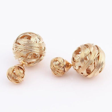 Gold Two Ball Pearls Stud Earrings Fashion | TeresaClare
