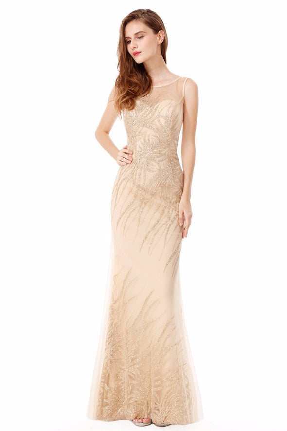 Gold Women's Elegant Scoop Neck Sleeveless Floor-Length Evening Dress | TeresaClare