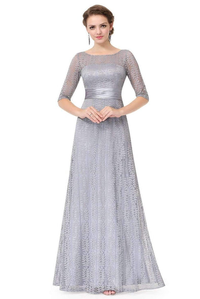 Gray A-Line Chiffon 1/2 Length Sleeves Evening Dress With Lace | TeresaClare